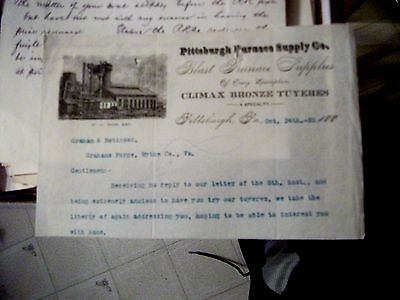 """Collectible Dated 1888 Letter Head """"PITTSBURGH FURNACE SUPPLY CO."""" Pittsburgh,Pa"""