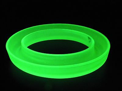 Bagley ?  Frosted Uranium  Glass Oval Posy Ring