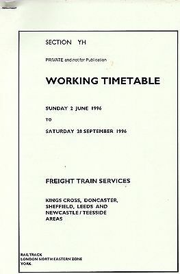 Railtrack LNE Zone Section YH Working Timetable, Freight Trains, June 1996