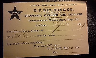 """Collectible Dated 1897 Advert. Postcard """"O.F. DAY, SON & CO.""""  Baltimore, MD"""