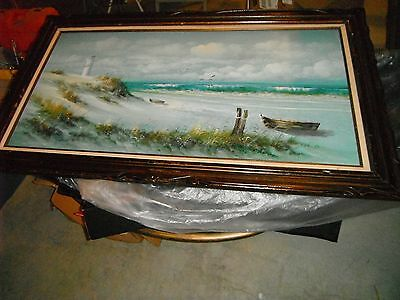 Large Oil Painting Of Lighthouse On Ocean Scene With Wood Frame