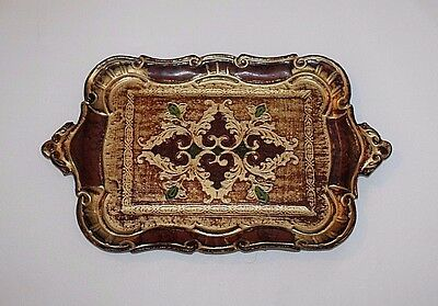 """Vintage Gold Gilt Italy Paper Mache Florentine Tray Green & Red, 12"""" x 7 1/2"""""""