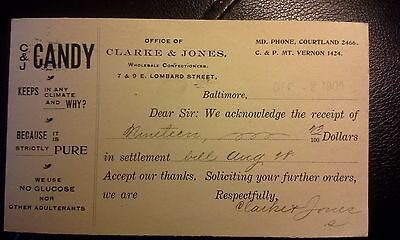 """Collectible Dated 1905 Advert. Postcard """"C & J CANDY.""""  Baltimore, MD"""