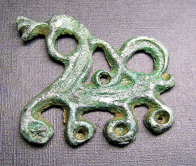 Ancient Viking Bronze ZOOMORPHIC Pendant  AMULET Dragon. Rare.