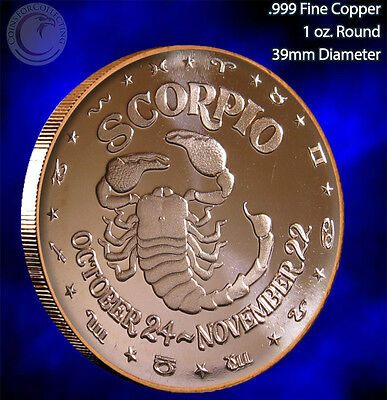 Scorpio Horoscope Collection 1 oz .999 Copper Round