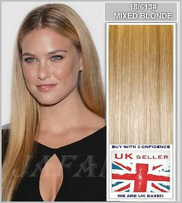 "20"" Half Head Clip in Remy Human Hair Extensions 18/613 Mixed/Blonde"