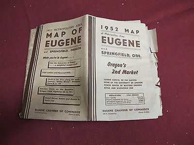 Vintage 1952  Eugene Oregon City Map With Springfield Oregon -Business Listings