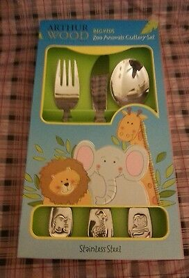 Children Cutlery 3 Piece Stainless Steel Zoo Animal Cutlery Set In Gift Box