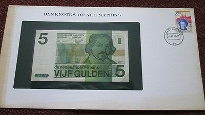 Netherlands P-95 5 Gulden 1973 Unc Banknotes of All Nations