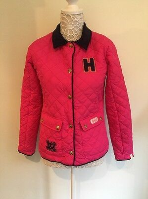 Henleys Pink Quilted Jacket Girls Age 13 Blue Trim Stunning
