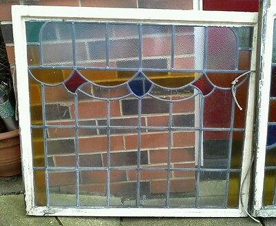 Victorian stained glass window panels.
