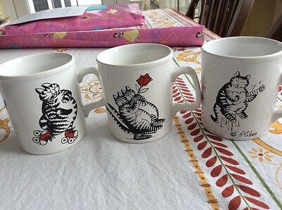 Three Kliban cat cups