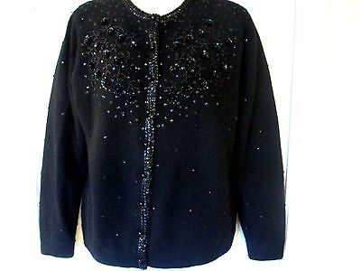 ViNTAGE 50s PiNUP Black  CASHMERE BEADED CARDiGAN SWEATER Sz 42 Lined