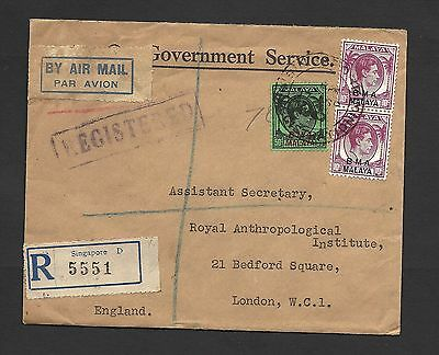1947 Malaya BMA Overprinted registered Air Mail Cover to London