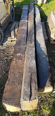 3 x Old Reclaimed English Oak Beams LONG 14ft+ to 16ft+ - Fireplace / Ceiling
