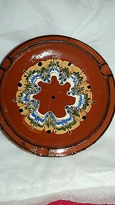 Portugese style brown patterned pottery ash tray
