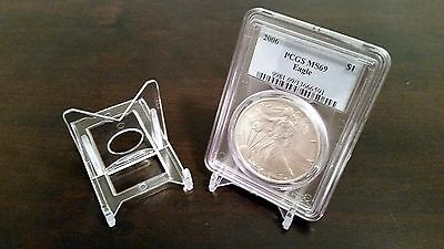 """10 Adjustable 2"""" Display Stand Easel Coin PCGS NGC Air-Tite Capsule"""