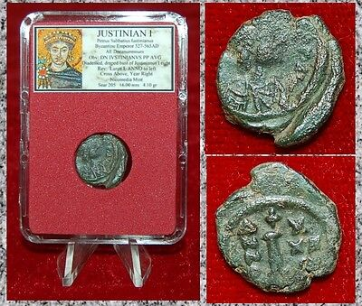 Ancient Byzantine Empire Coin JUSTINIAN I Bust Of Emperor on Obverse Cross