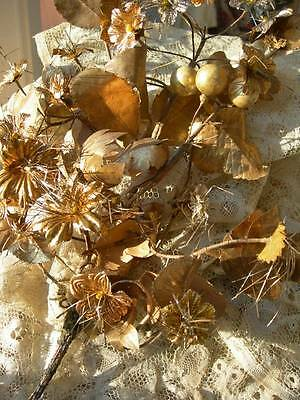 Convent find - bouquet antique French handmade foil flowers & leaves - Christmas