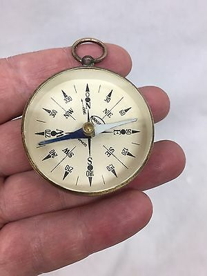VINTAGE GERMANY BRASS AND BEVELED EDGE GLASS COMPASS.. Wanderer
