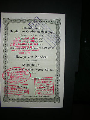 NETHERLANDS: Internationale Handel- en Credietmaatschappij, 1920, Aandeel