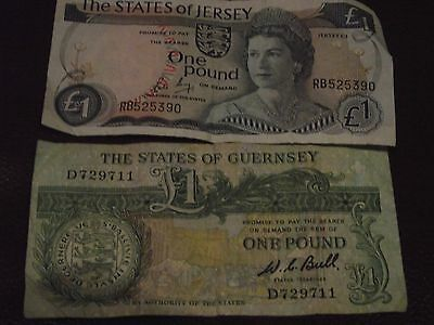 Guernsey £1 note and Jersey £1 note