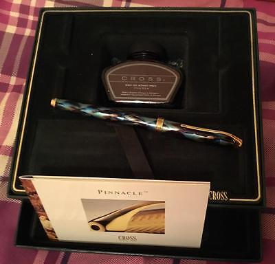 Amazing Cross Pinacle Fountain Pen In Peacock Blue In Presentation Box With Ink.