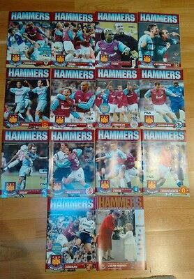 14 West Ham programmes 2001/2002 season -all proceeds to charity