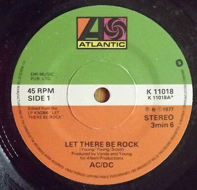 """AC/DC-Let there be rock 7"""" Single  1977 Original issue with timing on label"""