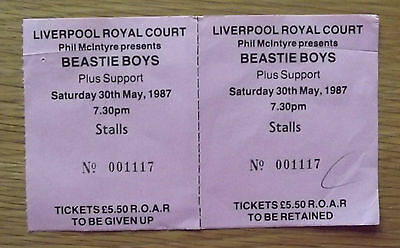 Beastie Boys unused concert ticket-Liverpool Royal Court 30th May 1987