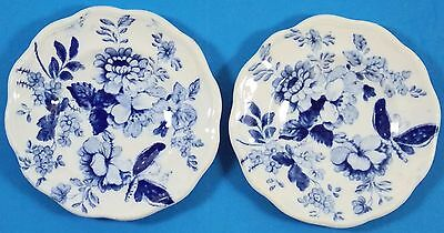Lot of Two Antique Porcelain Transferware Blue & White Butterpats. Very Thin!