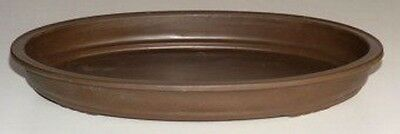 "Bonsai Humidity/Drip Tray - Oval 17"" x 12"" x 2"" Brown Heavy Duty Plastic"
