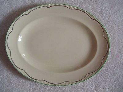 """Clarice Cliff 11"""" oval Serving Platter, meat Plate cream & gold with green rim"""
