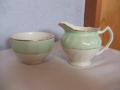 Johnson Brothers Old Chelsea Milk Jug and sugar bowl in VGC c1940s pale green