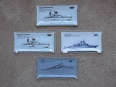 4 x small glass trays commemorating launching of navy ships