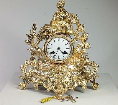 Perfect 19th Century French Rococo 24K Gilded Japy Freres striking Mantel Clock