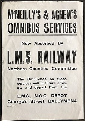 L.M.S. Railway Northern Counties Committee Advertising Poster Ballymena 1930