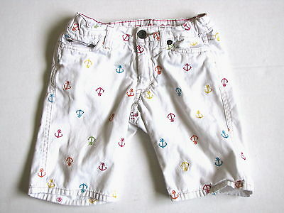 Nautica Colorful Anchor Print White Denim Shorts Size 6 Summer Adorable