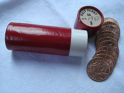 Uncirculated   Roll Of 50 1967  Half-Pennies  In  Tube.