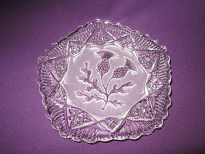 Vintage beautiful cut glass butter dish with intaglio Scottish thistle design