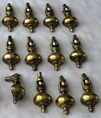 Lot Of 12 Vintage Mid-Century Bright Brass Drawer / Cabinet Drop Pulls / Handles