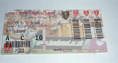 Hull K. R. v St Helens 7th March 2010 League Match, Ticket @ Craven Park, Hull
