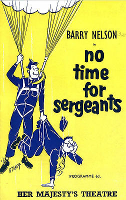 Theatre Programme. HER MAJESTY'S NO TIME FOR SERGEANTS AUG 1956