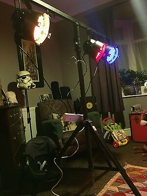 3 Thomann RGB LED light cans, DMX or manual. With T bar stand