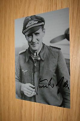 Luftwaffe Knights Cross Day Fighter Ace Signed Photograph Rall