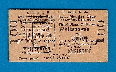Railway Ticket - LMS 3rd Excursion - Whitehaven Coniston Ambleside: Bus & Boat