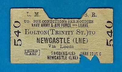Railway Ticket - LMS 3rd Forces Leave: Bolton Trinity St to Newcastle LNER: 1948
