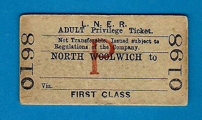Railway Ticket - LNER 1st Adult Privilege Single - North Woolwich to (Blank)
