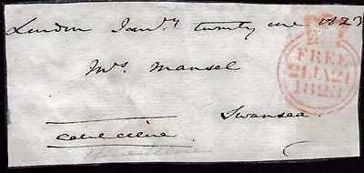 GB 1823 Free Frank Front signed Edward ELLIS MP Coventry, Hudson Bay Co Director