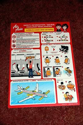 Air Asia Airbus A320-200 (Etops) Safety Card